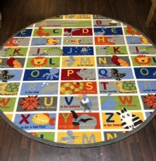 NEW ANIMAL ABC CHILDREN 200X200CM CIRCLE RUGS MATS HOME SCHOOL EDUCATIONAL MULTI
